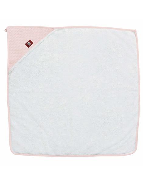 Рушник з капюшоном 1м х 1м - білий/рожевий, 0304164